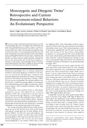 Monozygotic and Dizygotic Twins' Retrospective and Current Bereavement-related Behaviors: An Evolutionary Perspective